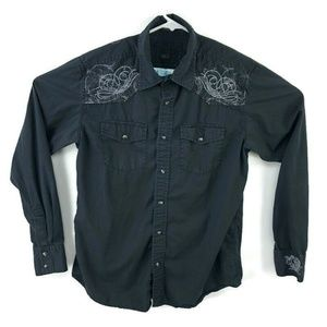 BKE Buckle Embroidered Snap Down Shirt